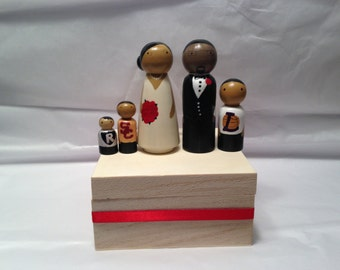 Wood Peg Doll Wedding Couple Cake Topper with 3 pets and/or children