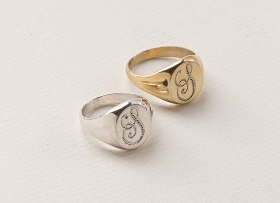 Rounded Pinky Monogram Ring Signet Ring Initial Ring