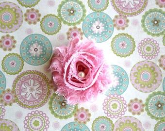 Pink with White polka Dots Shabby Chiffon, toddlers hair clip , girls hair clip, teens & adults hair clip or newborn headband