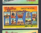 1940's Linen Postcards  -  Greetings From Texas  - Collectible, Collage, Altered Books