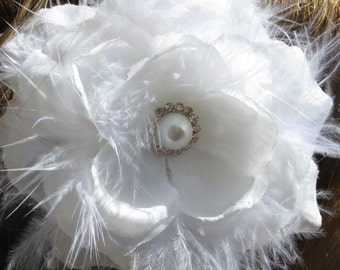 White(Ivory) Bridal Flower Hair Clip Wedding Accessory  Crystals Feathers Pearl