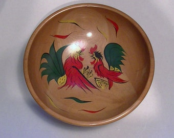 60s Wooden Serving Bowl - Roosters Fighting Cock Fight