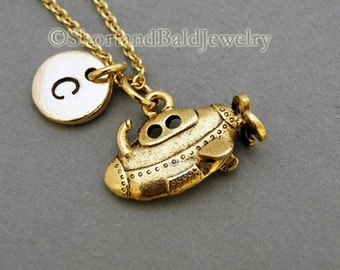 Submarine charm necklace, yellow submarine, antique gold, initial necklace, initial hand stamped, personalized, monogram