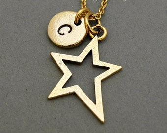 Star charm Necklace, Star cut, antique gold, initial necklace, initial hand stamped, personalized, monogram