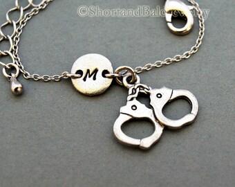 Handcuffs charm bracelet, handcuff, antique silver, initial bracelet, friendship, mothers, adjustable, monogram