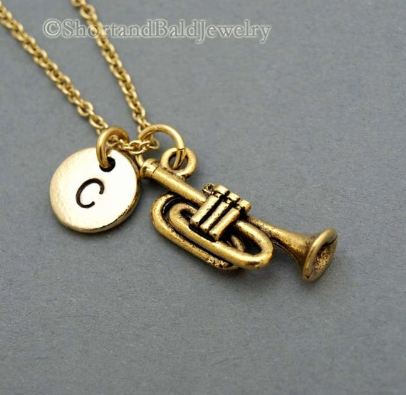 Monogrammed Trumpet Necklace