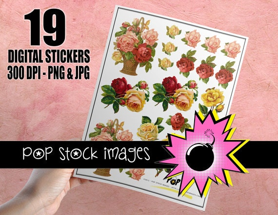 Digital Printable Sticker Sheet Victorian Roses Digital - Print your own stickers