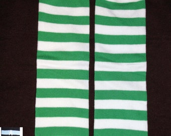 GREEN STRIPES baby leg warmers.  Great for babies, toddlers, and young kids