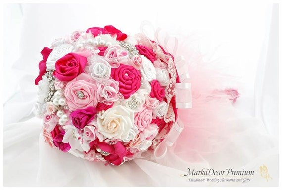 Wedding Brooch Bouquet Bridal Bouquet Jeweled Flower Bouquet in White, Fuchsia and Pink