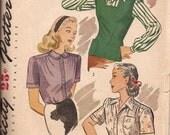 Simplicity Vintage Pattern 1089 Women's Blouse and Jerkin 1950s Size 12