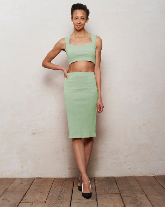 mix n match kirsten bralet and pencil skirt set in by