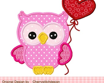 0wl applique,Heart balloon sweet 0wl Applique -4x4 5x5 6x6 inch-Machine Embroidery Applique Design