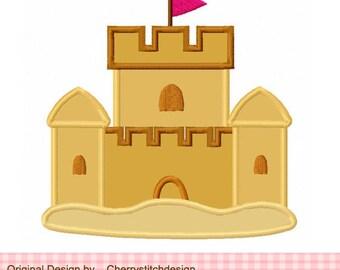 "Beach sand castle Machine Embroidery Applique Design -4x4 5x5 6x6"""