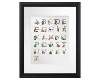 Peter Rabbit Alphabet,  Beatrix Potter Alphabet ABC, Alphabet Prints for Schools and nursery, Animal Alphabet : RESOLUTION as 300 ppi