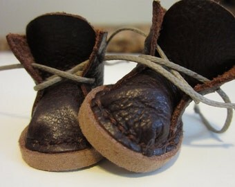 Leather boots for tiny BJD - Irrealdoll etc. - handmade to order