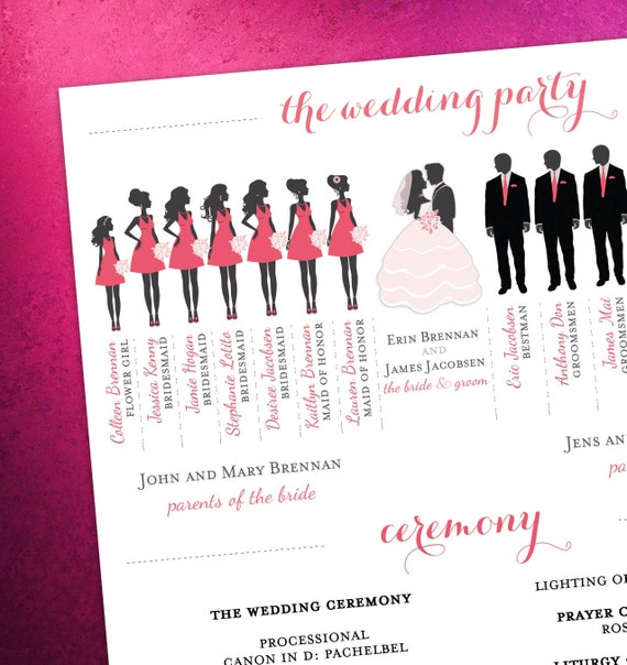 Modern Day Wedding Program Bridal Party Silhouettes Digital