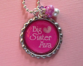 BIG SISTER Gift Necklace Personalized Girls Necklace Pink Birthday New Sister New Siblings