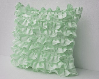 Decorative pillow in Mint Green Satin with Ruffles, Decorative cushion cover, Ruffle throw pillow, 18X18 Ruffle throw cushion