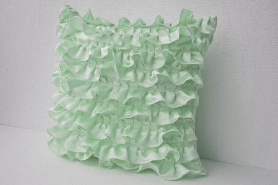 Green Ruffle Throw Pillow : Decorative Pillow Mint Green Ruffles Satin Decorative Cushion