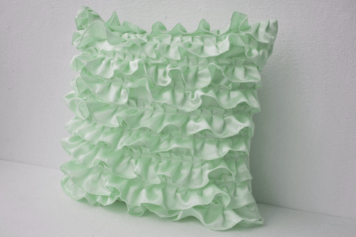 Decorative Pillows With Green : Decorative pillow in Mint Green Satin with Ruffles Decorative
