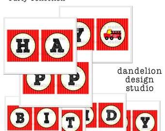 PRINTABLE Happy Birthday Banner - Fire Truck Party Collection - Dandelion Design Studio