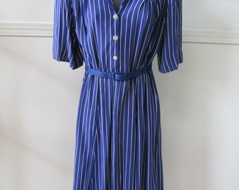 1940s Blue & White Striped Dress