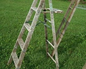 "Antique Wood Ladder with 5 Steps - 58"" tall - Choose a Vintage Surface or Pick a Color"