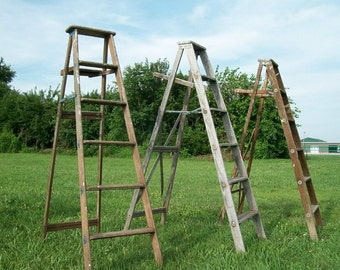 antique wood ladder with 6 steps 68 tall choose a vintage surface or - Wooden A Frame Ladder