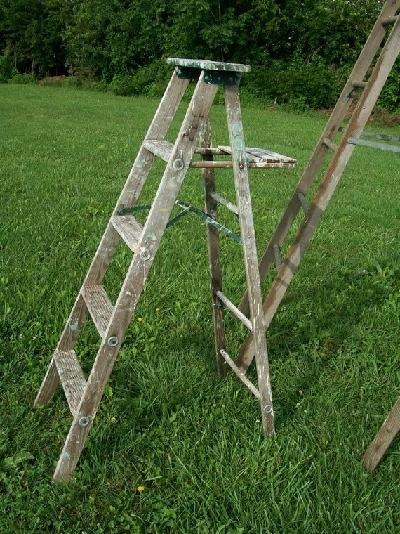Antique Wood Ladder With 5 Steps 58 Tall Choose By