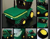 """Crochet Pattern: """"Big Green Tractor"""" Basket, Treasure Chest, Tissue Holder, Permission to Sell Finished Items"""