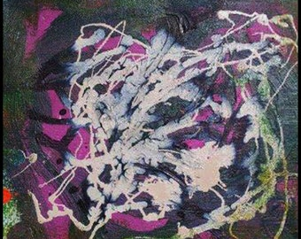 Original Painting - Abstract Painting with Lavender, White, Black, Green by David Lawter