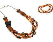 Brown Butterfly Mix Beaded Jewelry Set - UniqueCreationsBB