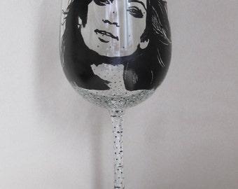 Hand Painted Wine Glass - JENIFER LOPEZ