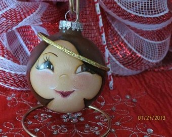 Angel Ornament with Brown hair. Handpainted Glass Ornament.