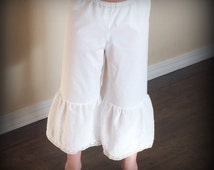 Vintage Ruffled Pantalettes or Pantaloons for girls & toddlers by Steady As She Goes 2T 3T 4 5 6 7 8 10 12 shabby petticoat ivory half slip