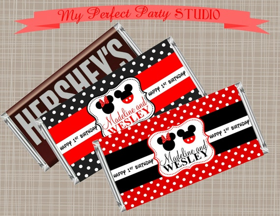 Mickey Amp Minnie Mouse Twin Personalized Printable Candy Bar
