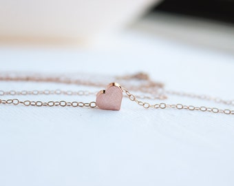Rose Gold Heart Necklace,Puffy Rose Gold Heart Necklace, , Rose Gold Necklace,