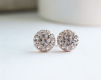 Bridal Earrings, Rose Gold Earrings, Rose Gold Studs, Everyday Earrings