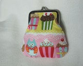 Coin purse, Eye Candy Purse, Cupcake and Owl print Frame Coin Pouch