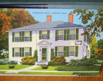 Vintage Postcard, Harrington House, Lexington, Massachusetts 1940s Linen Paper Ephemera