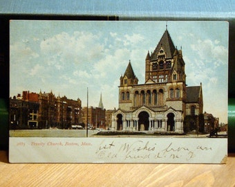 Vintage Postcard, Trinity Church, Boston Massachusetts 1900s Paper Ephemera