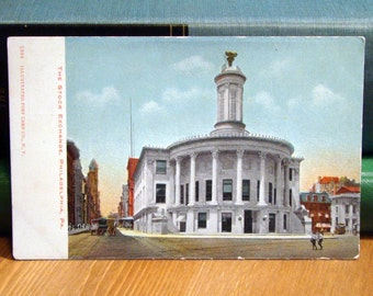 Antique Postcard, Stock Exchange, Philadelphia, Pennsylvania, 1910 Vintage Paper Ephemera