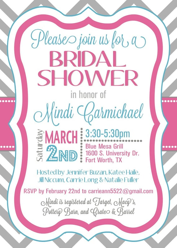 custom chevron bridal shower invitation - digital file