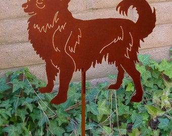 Long Haired Chihuahua Garden Stake, Pet Memorial, Ornament, Steel Yard Art, Dog Breed Specific, Rustic