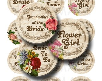 99 Cent Sale - Getting Married - Digital Collage Sheet  - 2.25 inch Round Circles - INSTANT DOWNLOAD