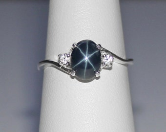 Genuine Blue Star Sapphire Ring Sterling Silver / Blue Star Sapphire Ring Silver / September Birthstone