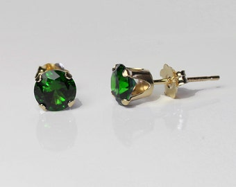 Natural Russian Chrome Diopside 14K Yellow Gold Earrings / 14K SOLID Gold Chrome Diopside Earrings Stud Post