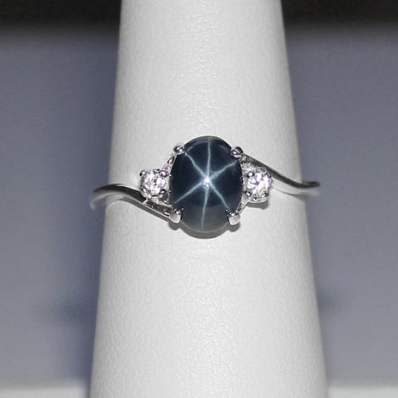 Genuine Blue Star Sapphire Ring Sterling Silver Blue Star