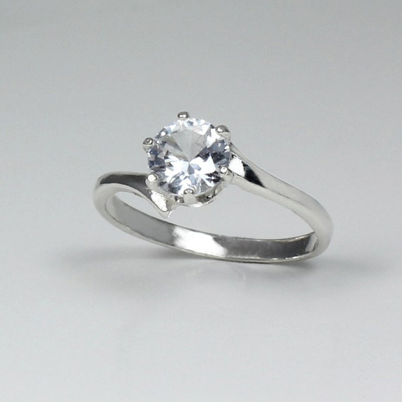 white sapphire engagement ring sterling silver by tsnjewelry