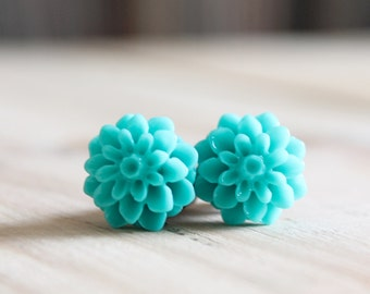 2g Flower Plugs Turquoise Dahlia Gauges for Stretched Ears Customizable for 4g 2g 0g 00g Vintage Inspired Piercing